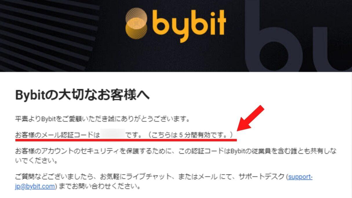 bybitの認証コード通知メールの画像